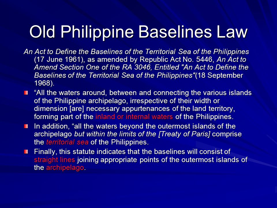 Old Philippine Baselines Law