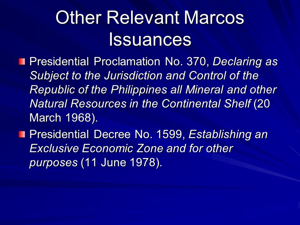 Other Relevant Marcos Issuances