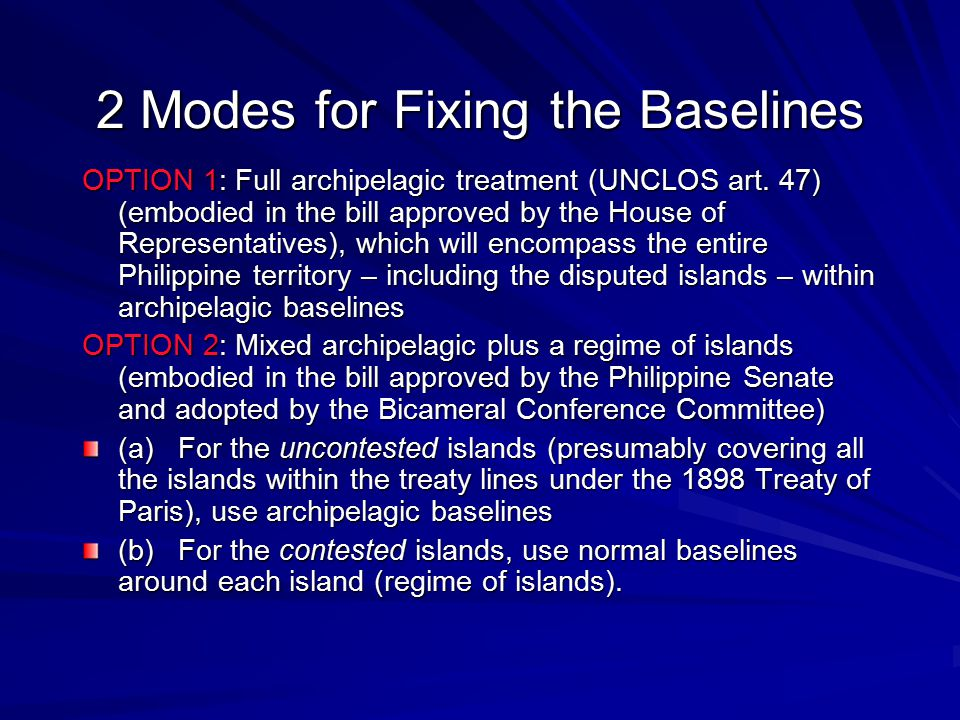 2 Modes for Fixing the Baselines