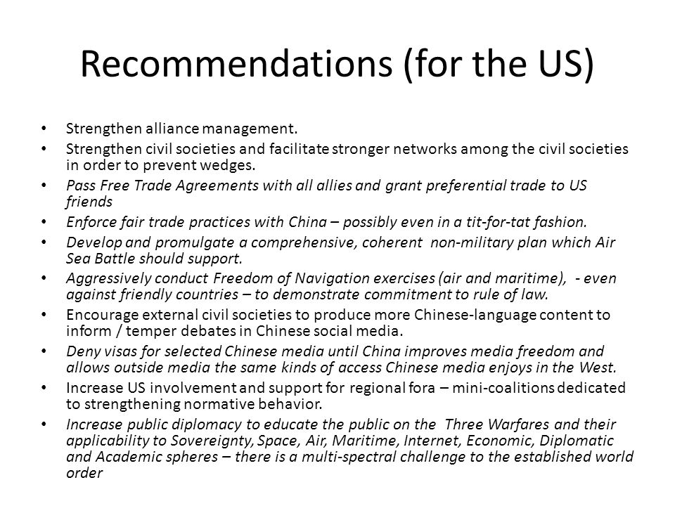 Recommendations (for the US)