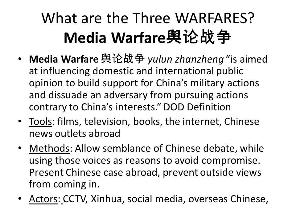 What are the Three WARFARES Media Warfare舆论战争
