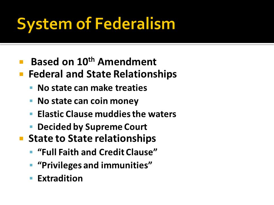 System of Federalism Based on 10th Amendment