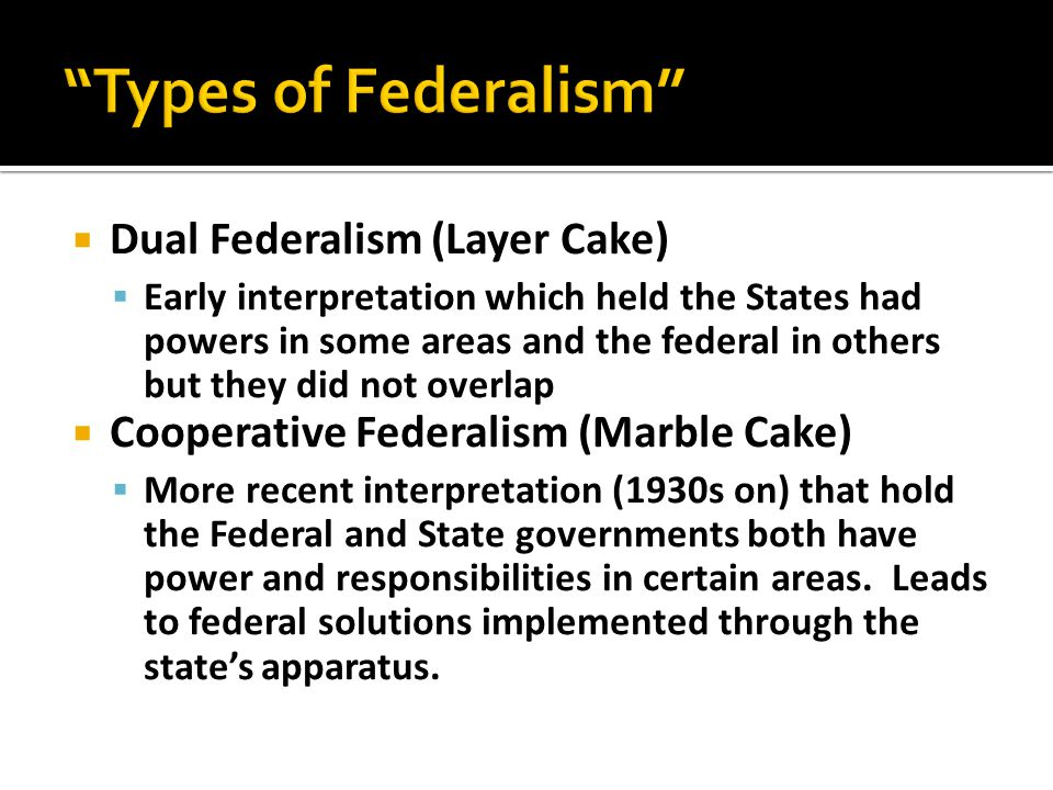 Types of Federalism Dual Federalism (Layer Cake)