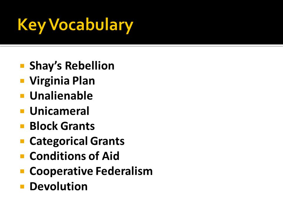 Key Vocabulary Shay's Rebellion Virginia Plan Unalienable Unicameral