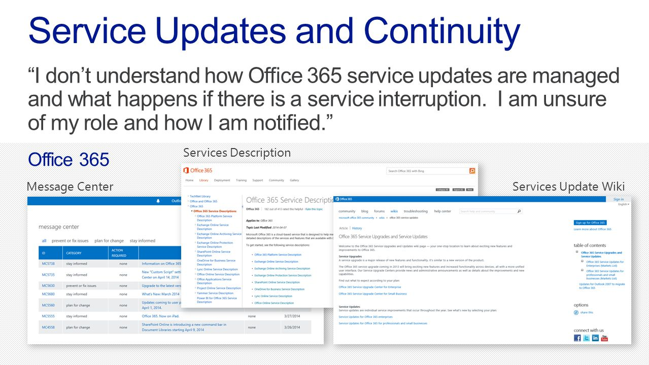Service Updates and Continuity