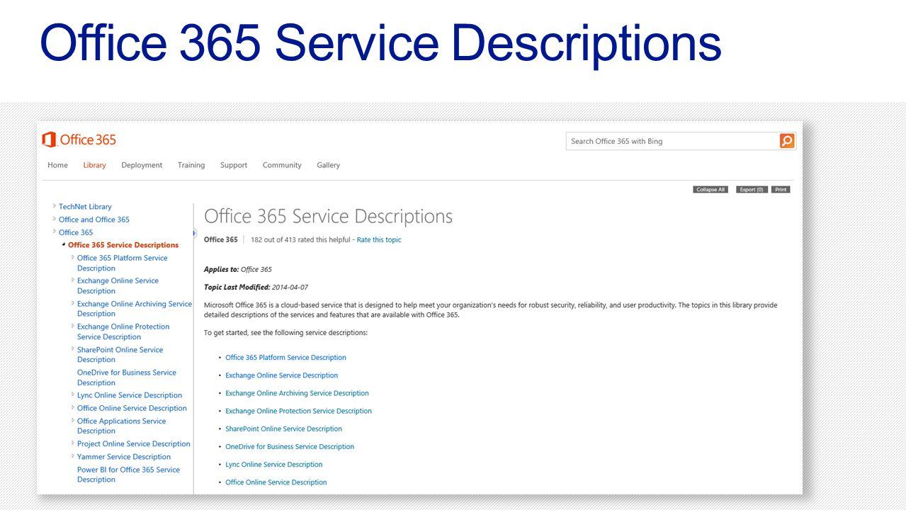 Office 365 Service Descriptions