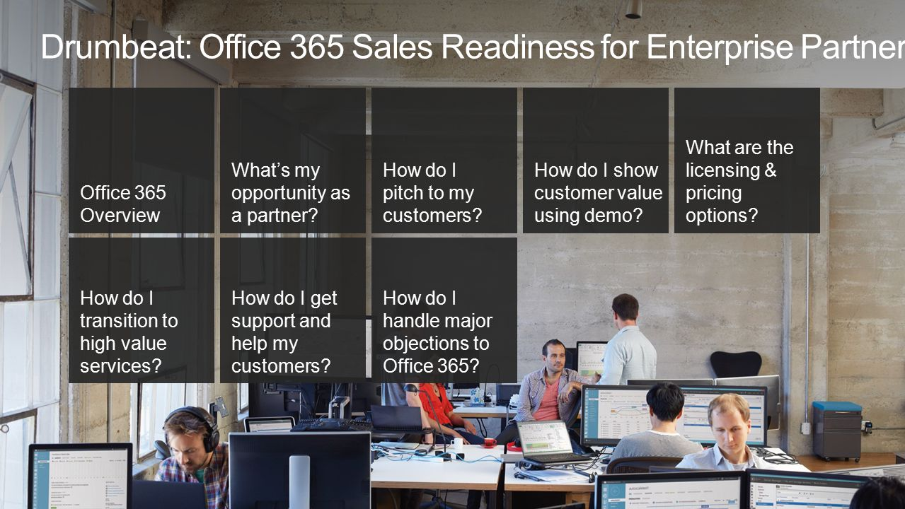 Drumbeat: Office 365 Sales Readiness for Enterprise Partners