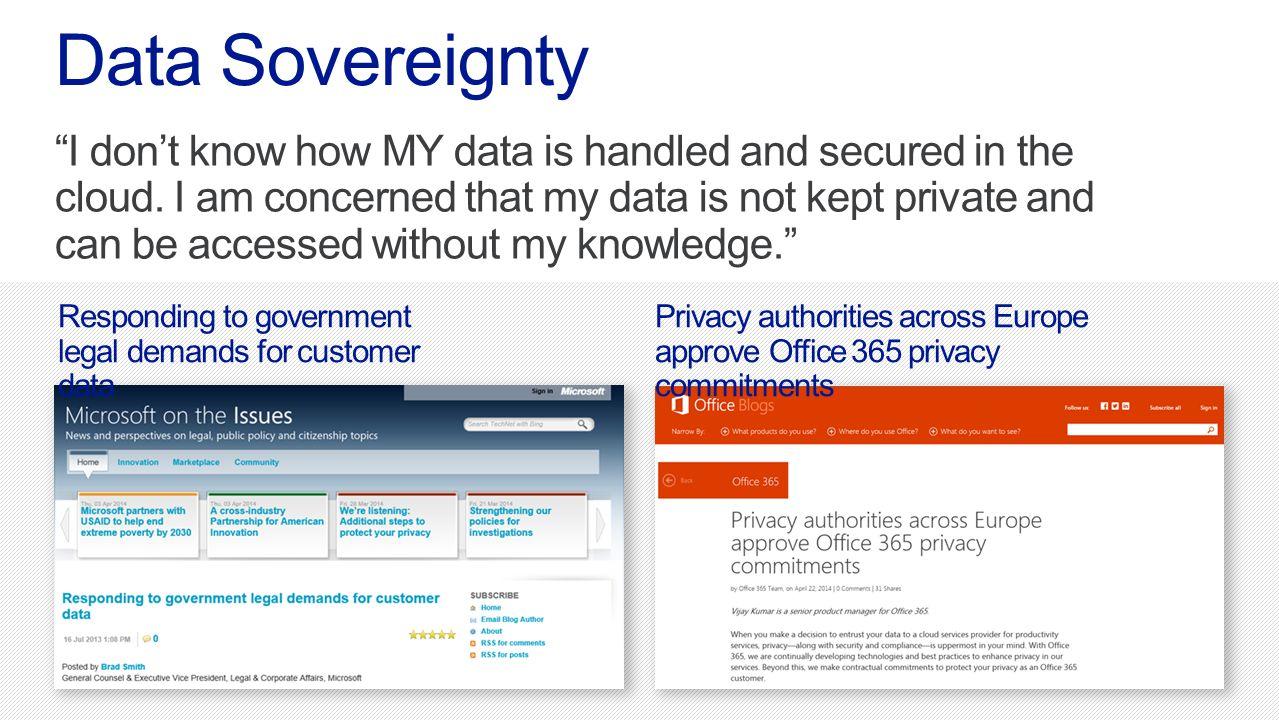 Microsoft Office365 4/13/2017. Data Sovereignty.