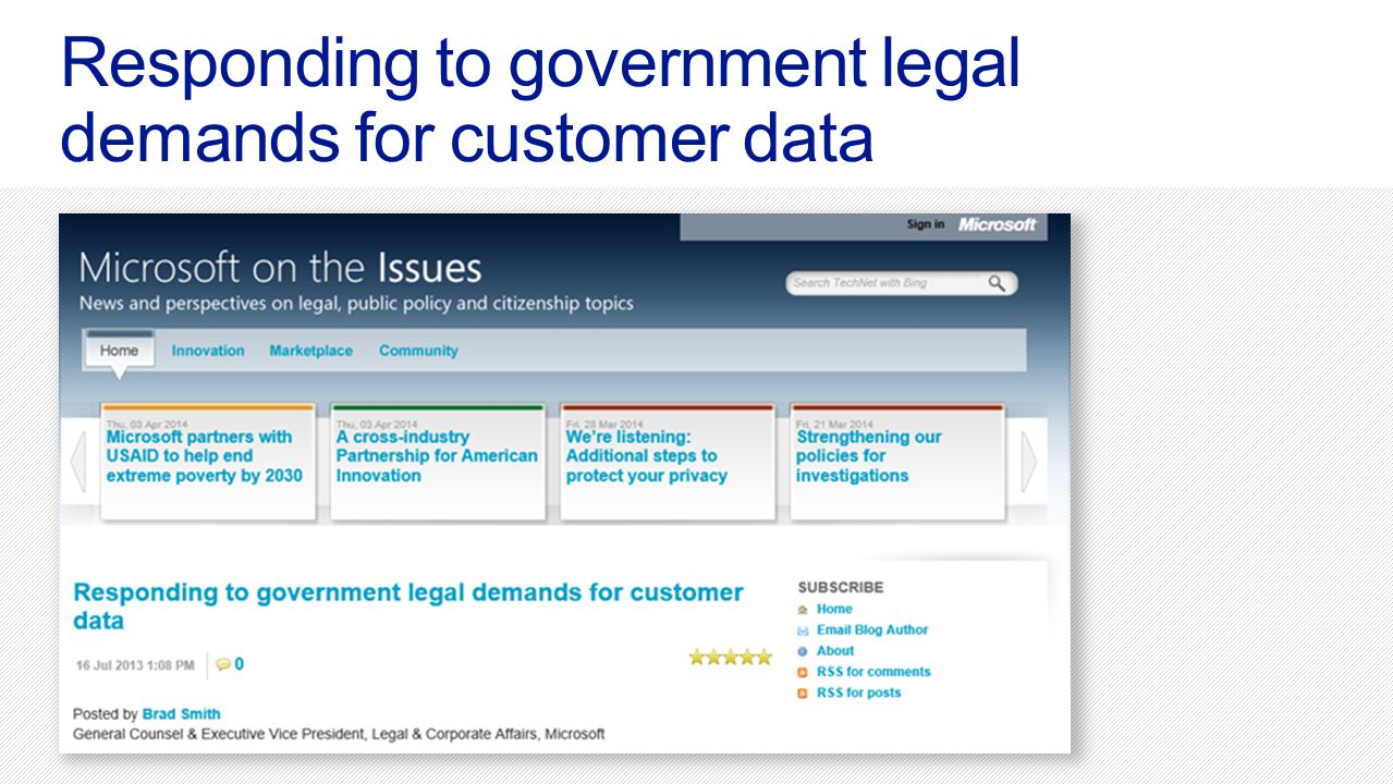 Responding to government legal demands for customer data