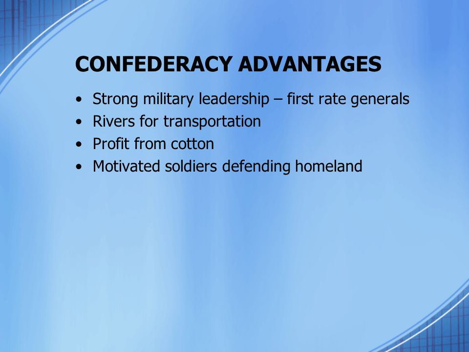 CONFEDERACY ADVANTAGES