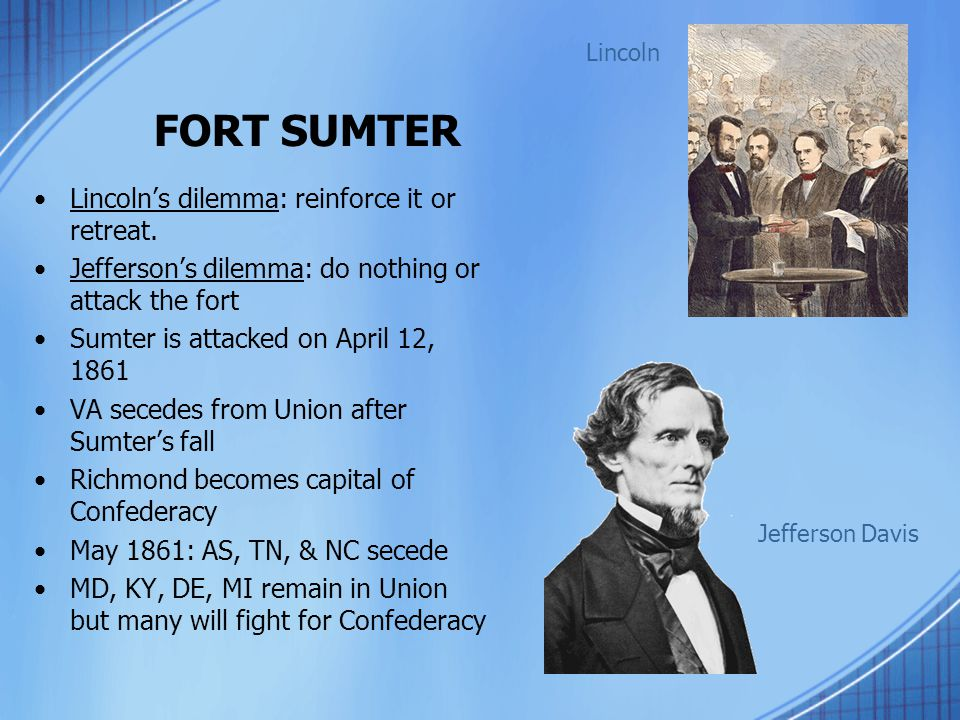 FORT SUMTER Lincoln's dilemma: reinforce it or retreat.