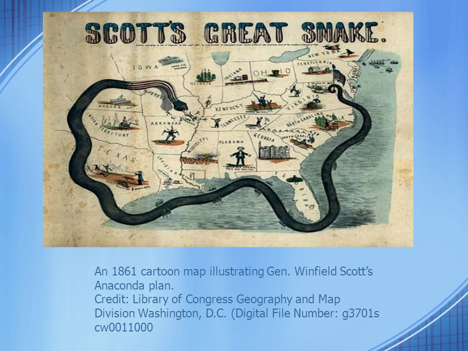 An 1861 cartoon map illustrating Gen. Winfield Scott's Anaconda plan.