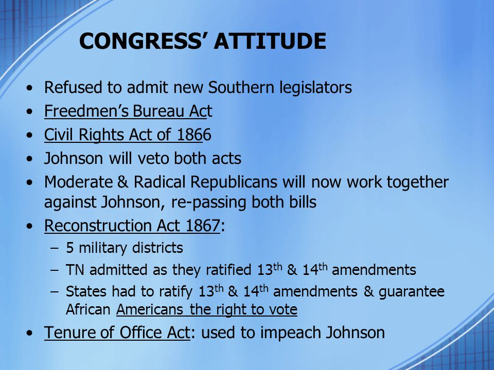 CONGRESS' ATTITUDE Refused to admit new Southern legislators