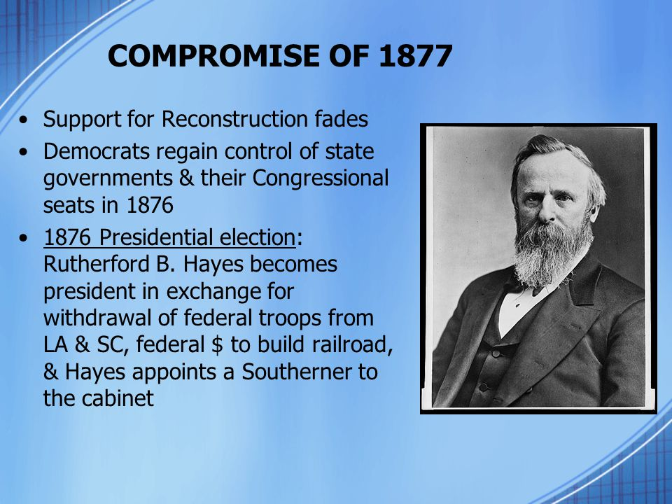 COMPROMISE OF 1877 Support for Reconstruction fades