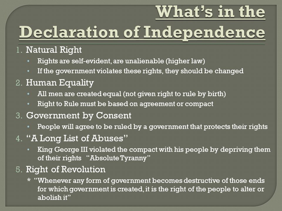 What's in the Declaration of Independence