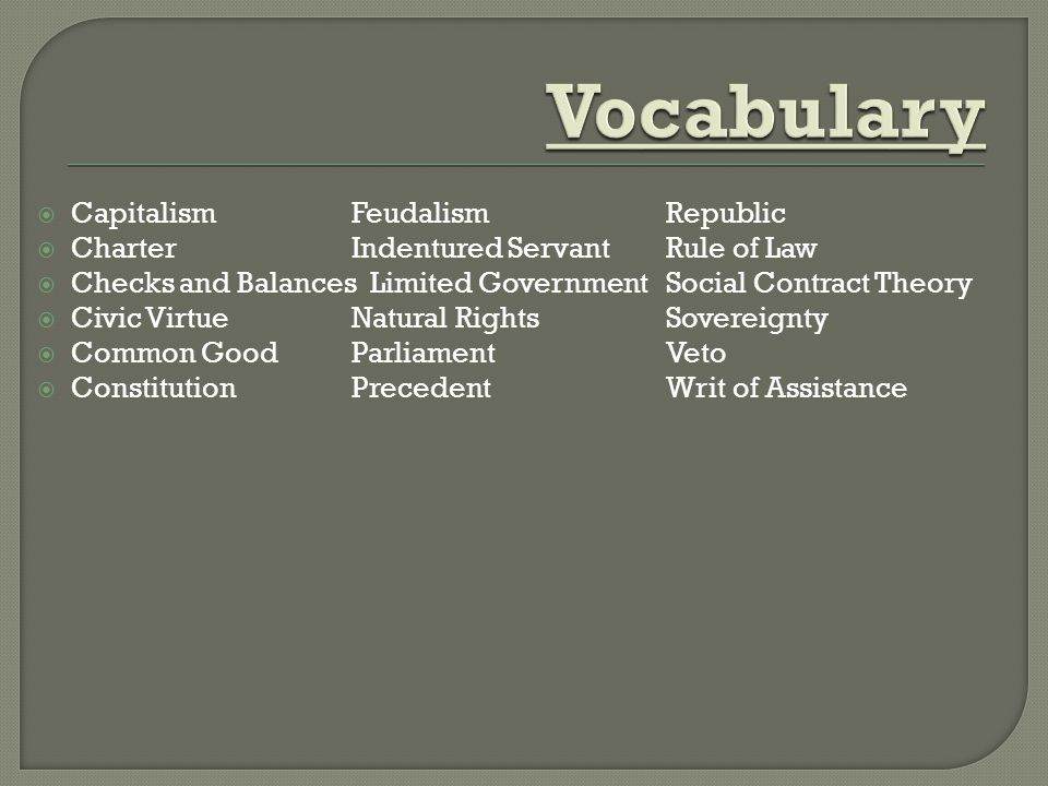 Vocabulary Capitalism Feudalism Republic