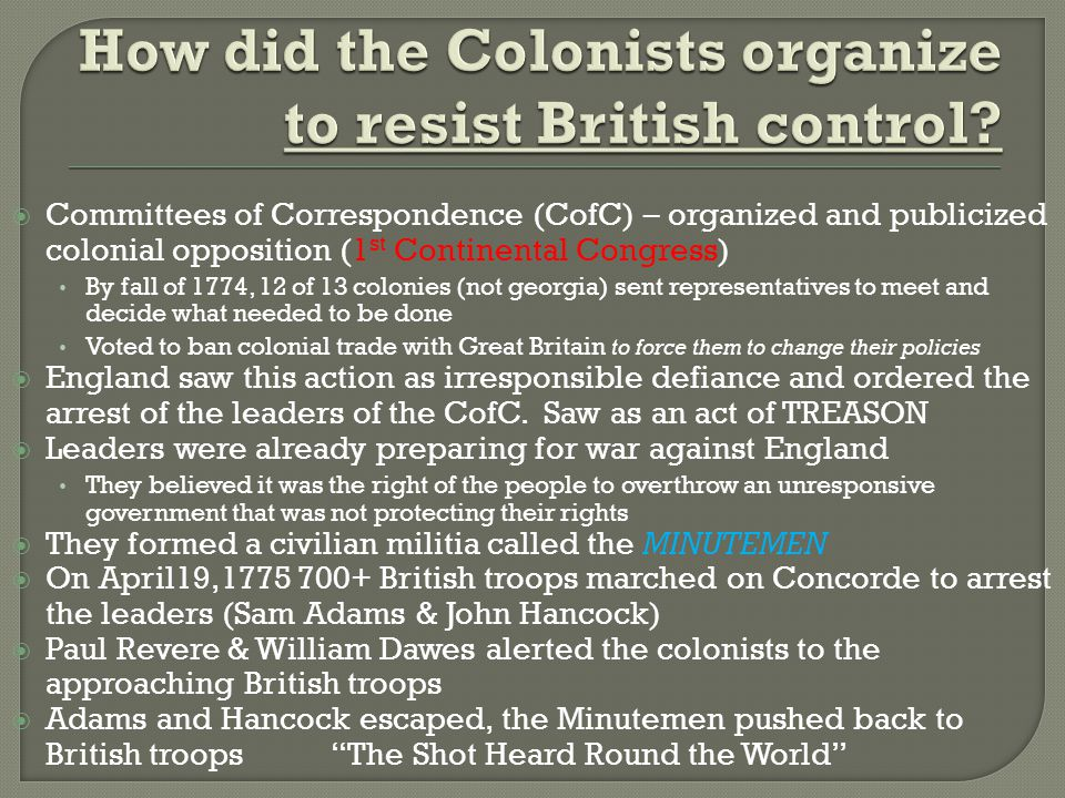 How did the Colonists organize to resist British control