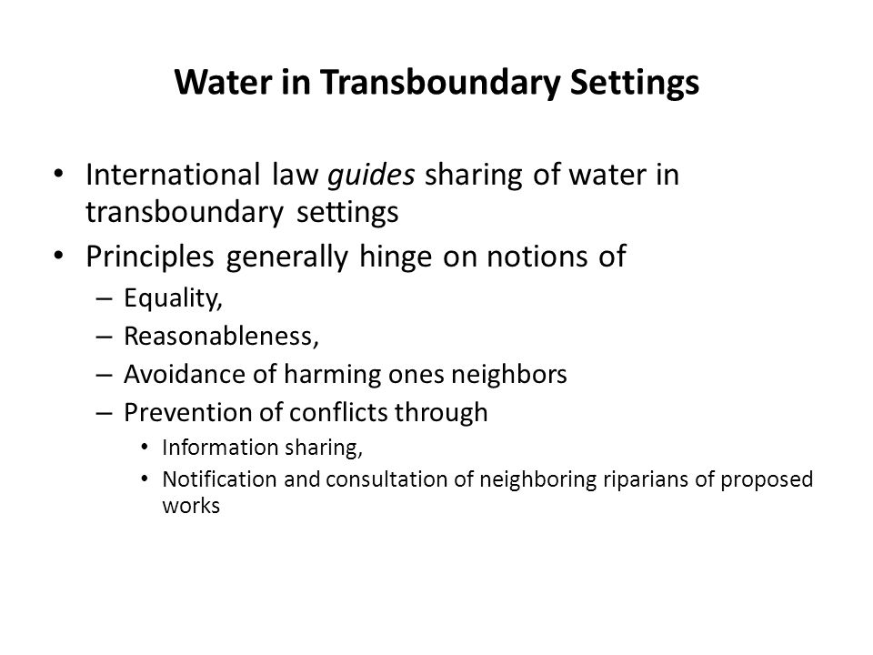 Water in Transboundary Settings