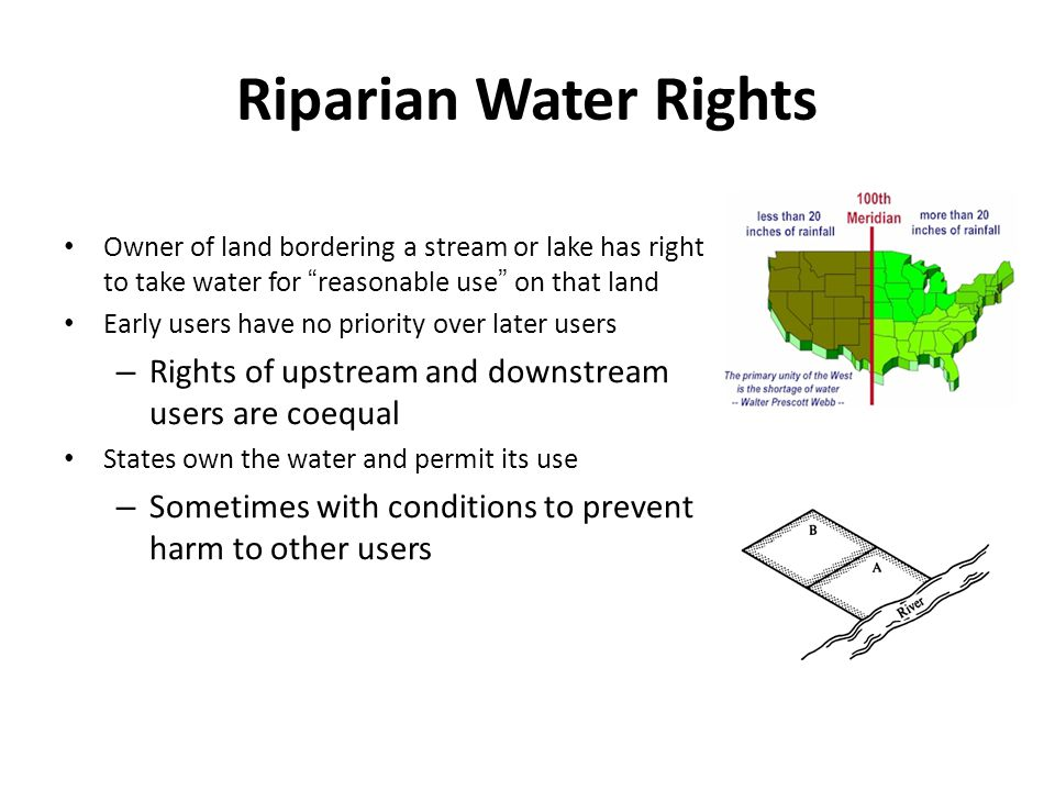 Riparian Water Rights Owner of land bordering a stream or lake has right to take water for reasonable use on that land.