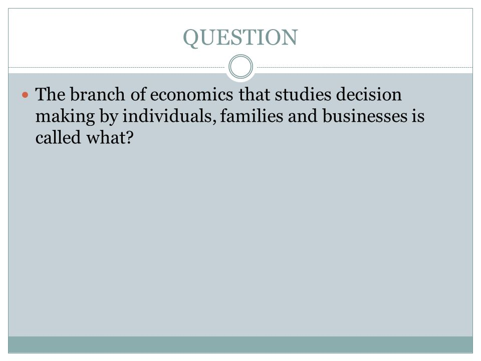QUESTION The branch of economics that studies decision making by individuals, families and businesses is called what