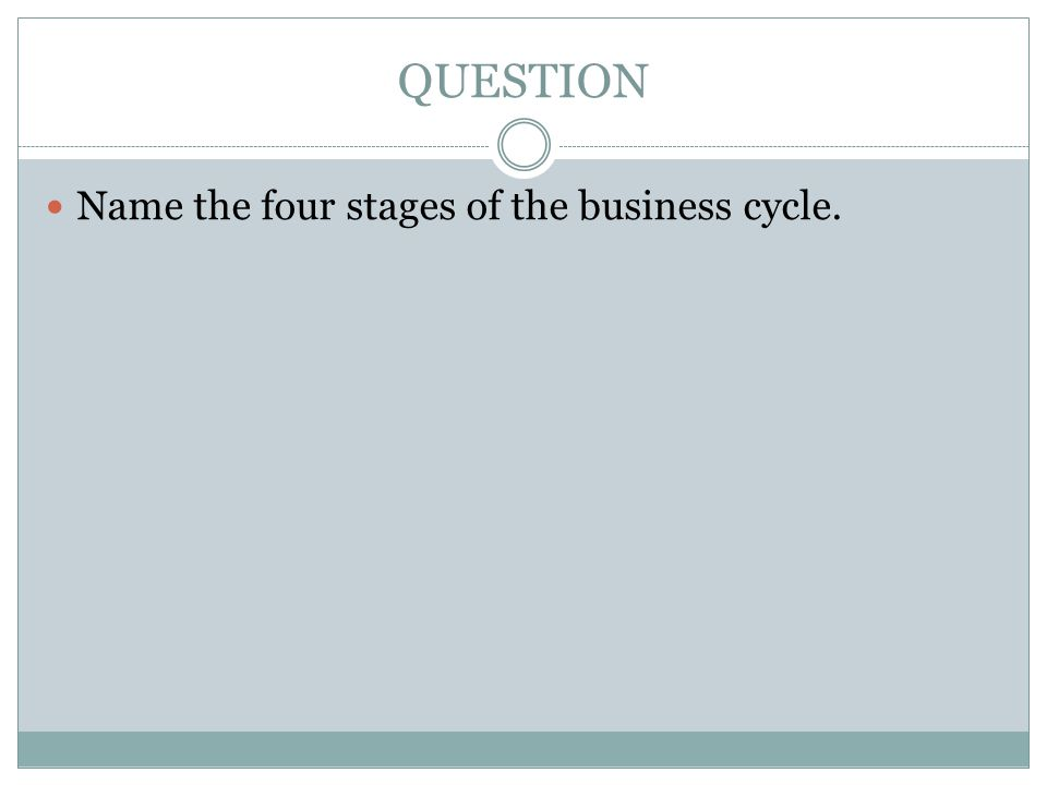 QUESTION Name the four stages of the business cycle.