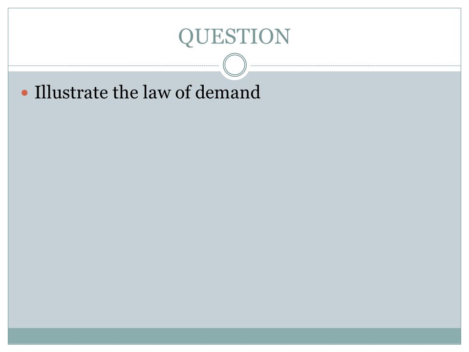 QUESTION Illustrate the law of demand