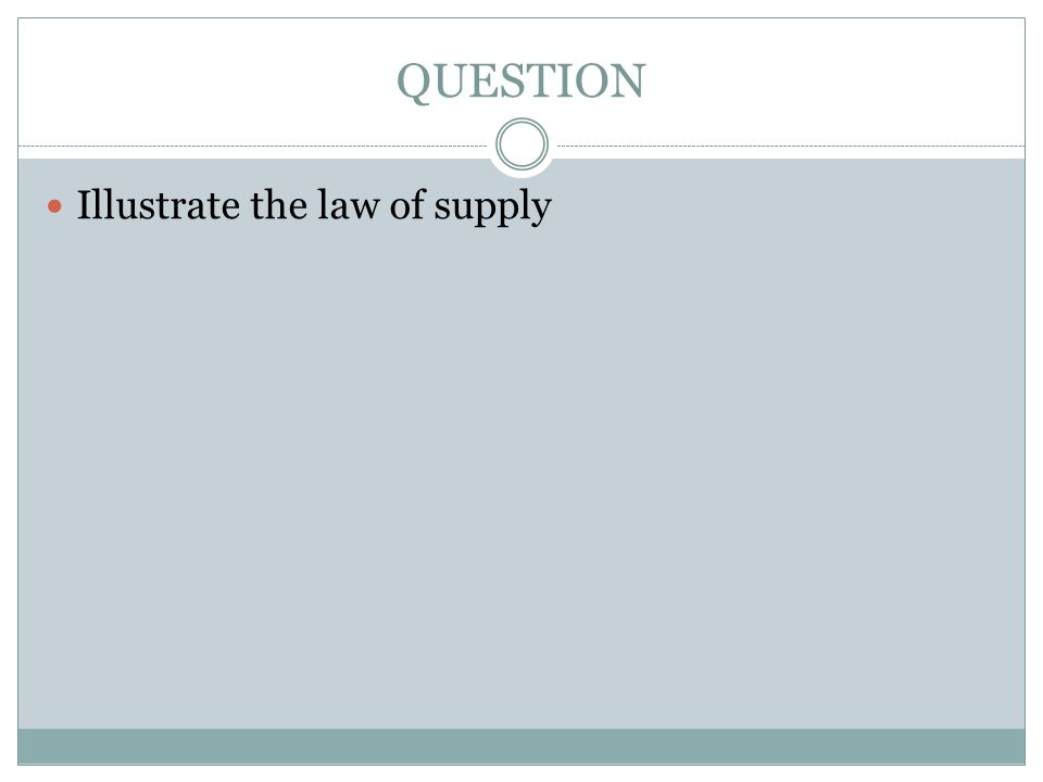 QUESTION Illustrate the law of supply