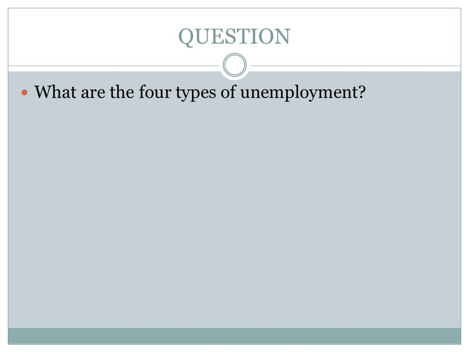 QUESTION What are the four types of unemployment