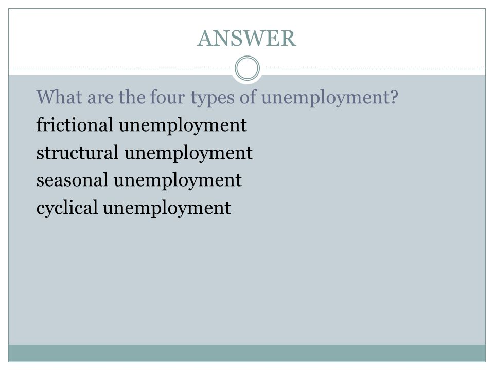 ANSWER What are the four types of unemployment