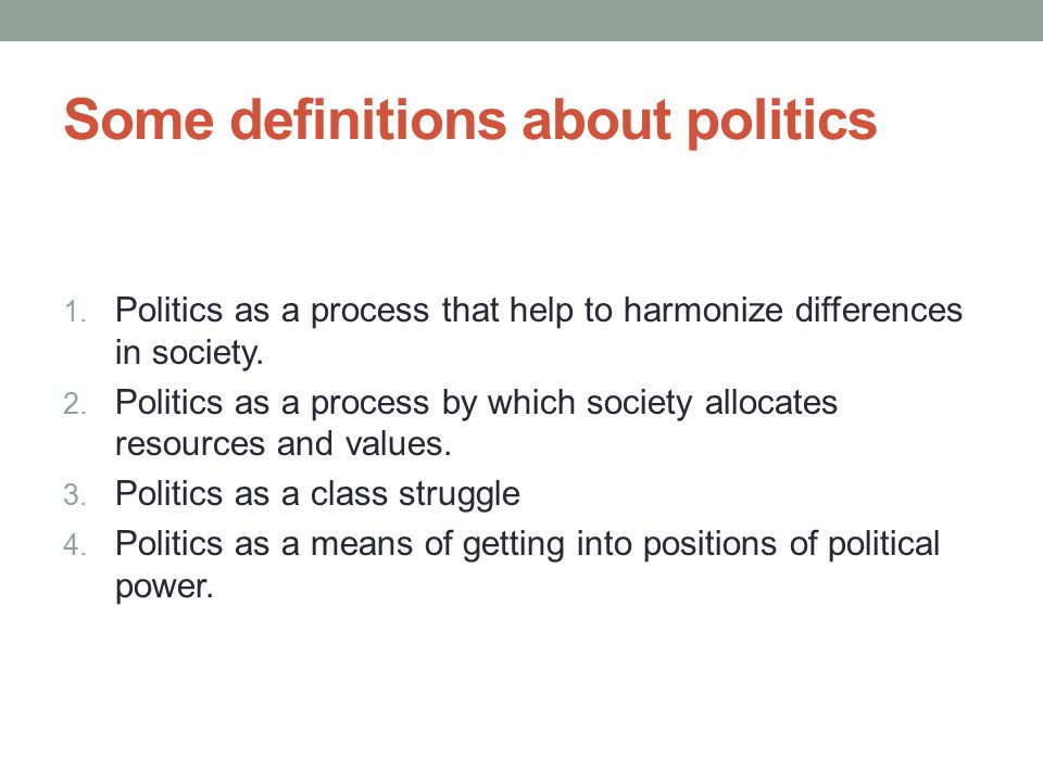 Some definitions about politics