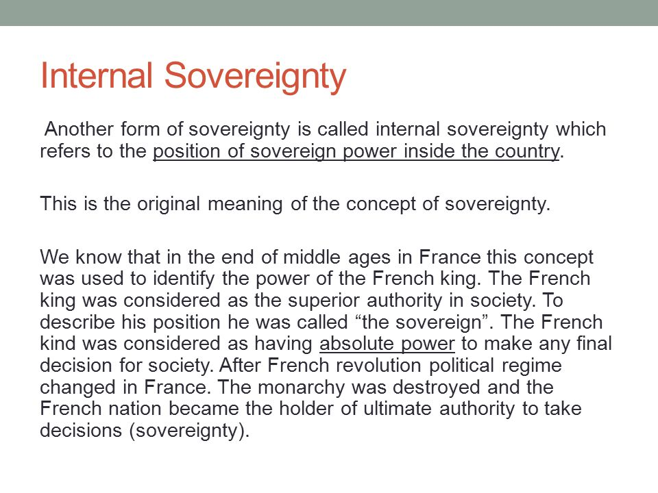 Internal Sovereignty