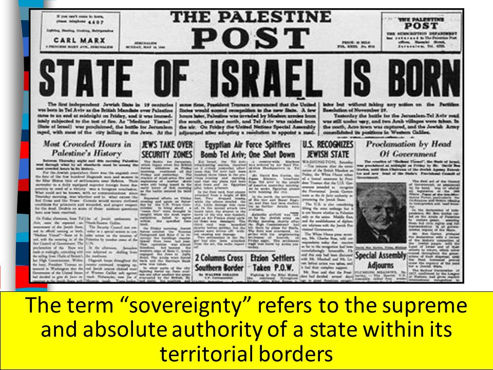 The term sovereignty refers to the supreme and absolute authority of a state within its territorial borders