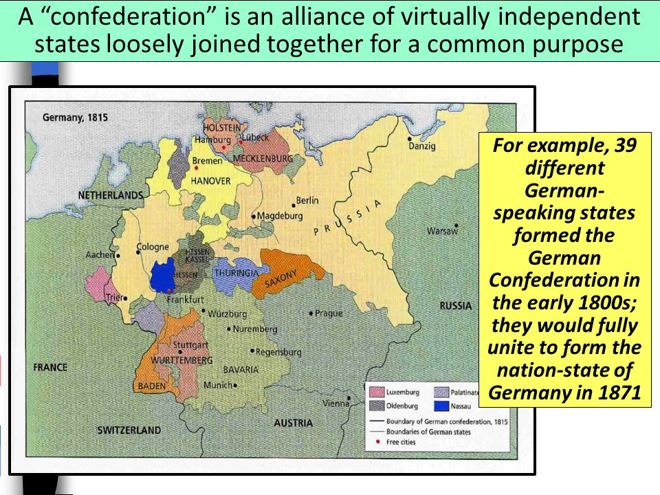 A confederation is an alliance of virtually independent states loosely joined together for a common purpose