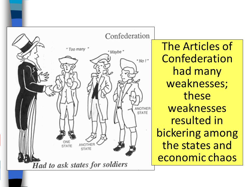 The Articles of Confederation had many weaknesses; these weaknesses resulted in bickering among the states and economic chaos
