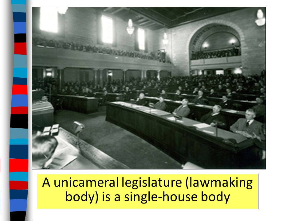 A unicameral legislature (lawmaking body) is a single-house body