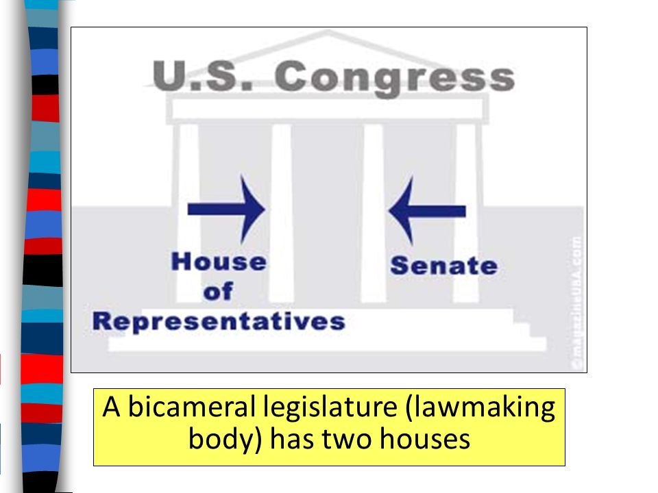A bicameral legislature (lawmaking body) has two houses