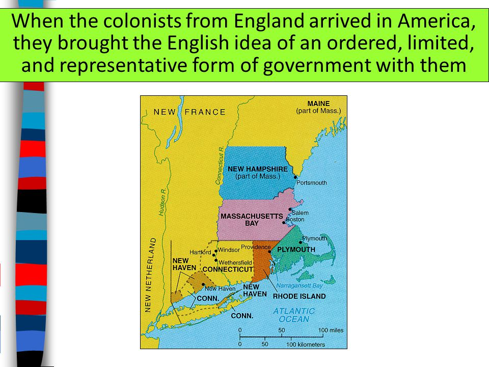 When the colonists from England arrived in America, they brought the English idea of an ordered, limited, and representative form of government with them