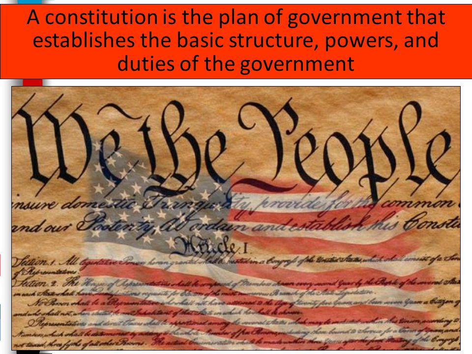 A constitution is the plan of government that establishes the basic structure, powers, and duties of the government