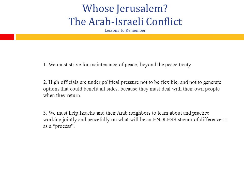 Whose Jerusalem The Arab-Israeli Conflict Lessons to Remember