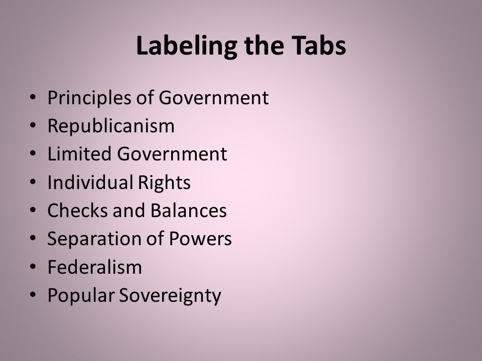 Labeling the Tabs Principles of Government Republicanism