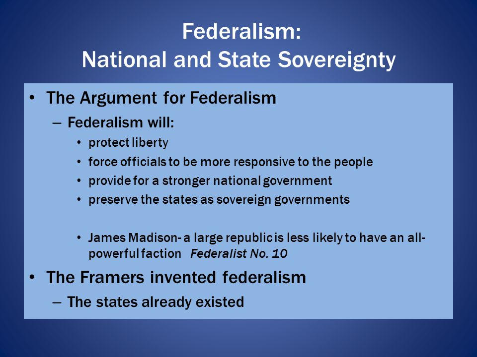 Federalism: National and State Sovereignty