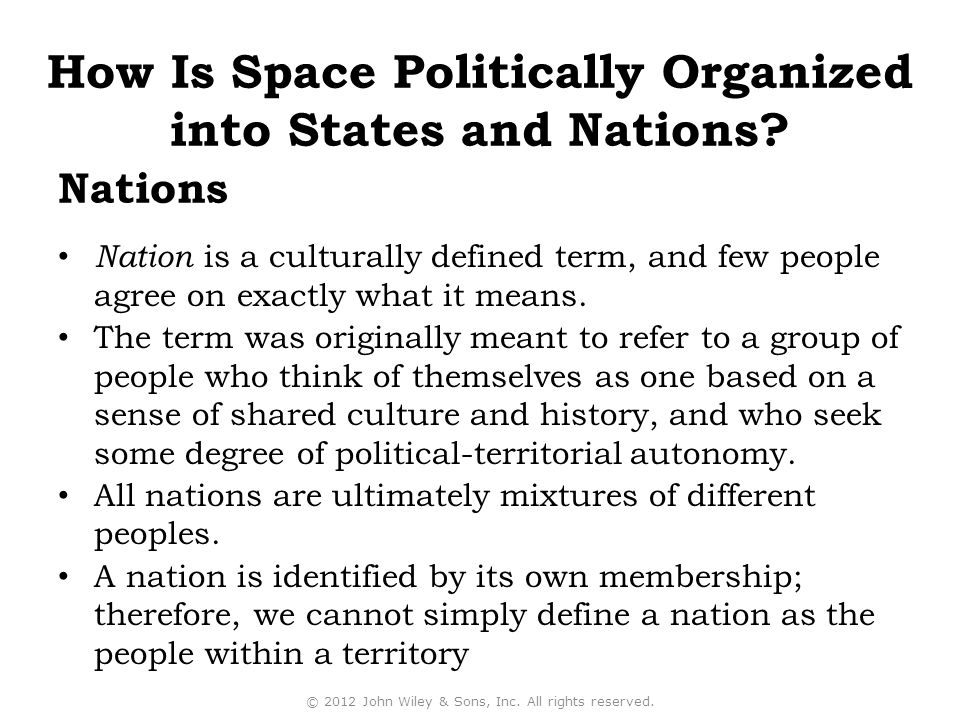 How Is Space Politically Organized into States and Nations