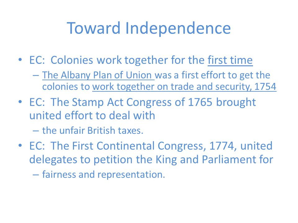 Toward Independence EC: Colonies work together for the first time