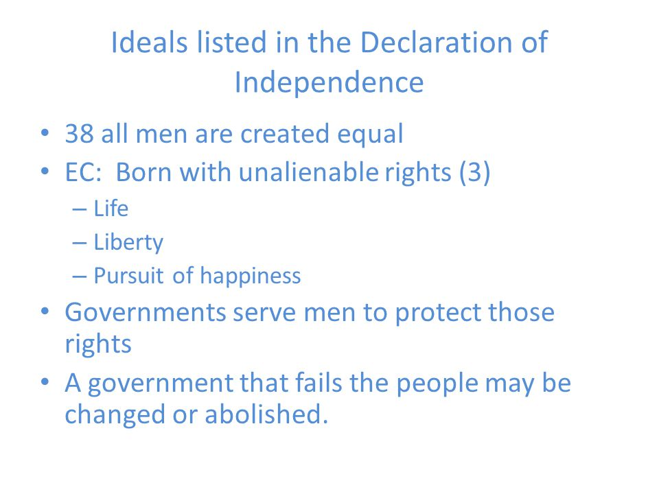 Ideals listed in the Declaration of Independence
