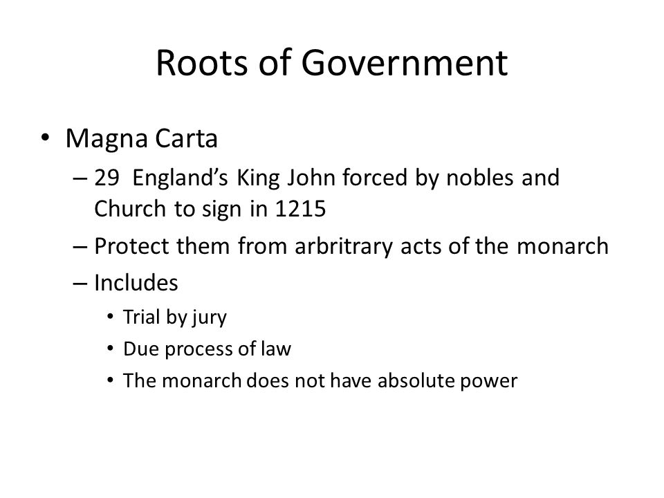 Roots of Government Magna Carta