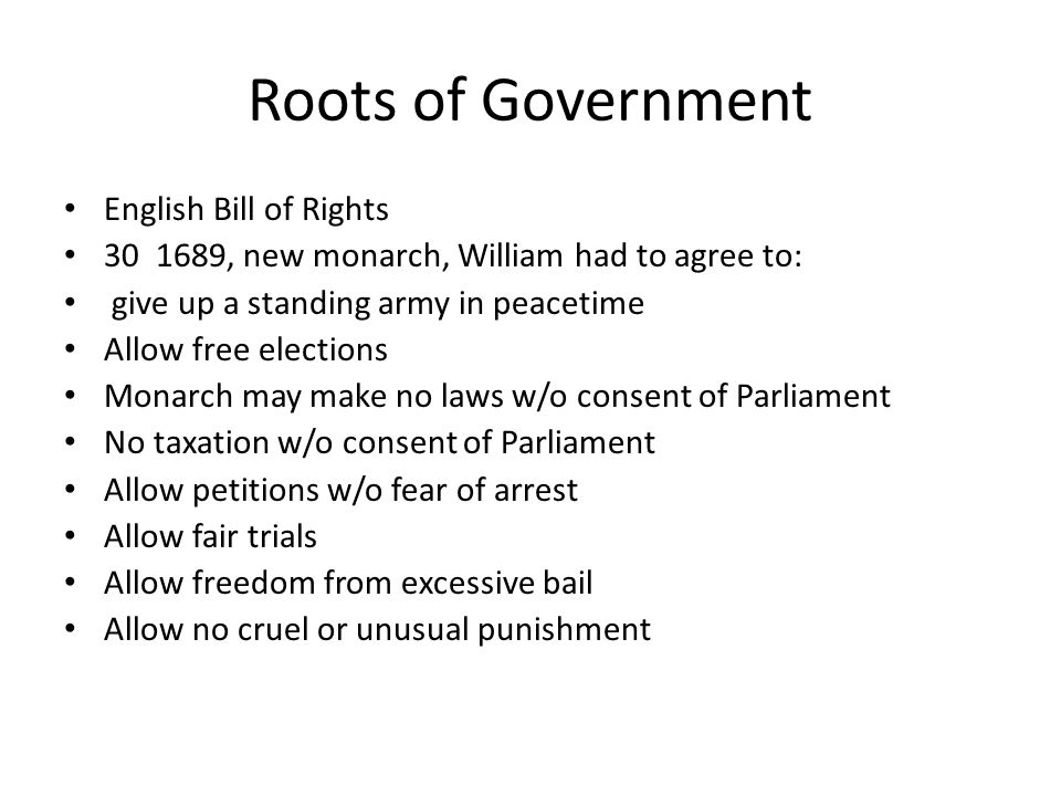 Roots of Government English Bill of Rights