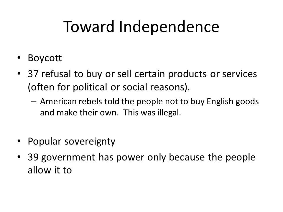 Toward Independence Boycott