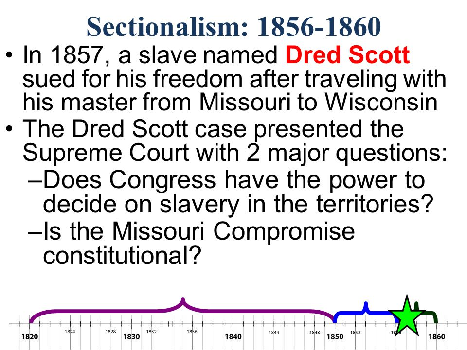 Sectionalism: 1856-1860 In 1857, a slave named Dred Scott sued for his freedom after traveling with his master from Missouri to Wisconsin.