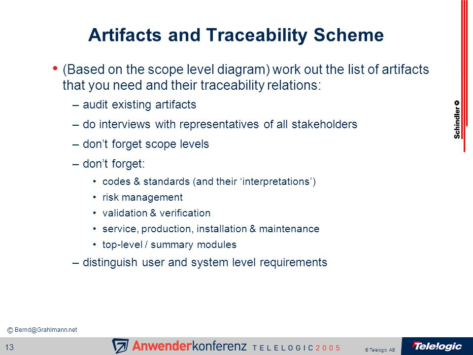 Artifacts and Traceability Scheme