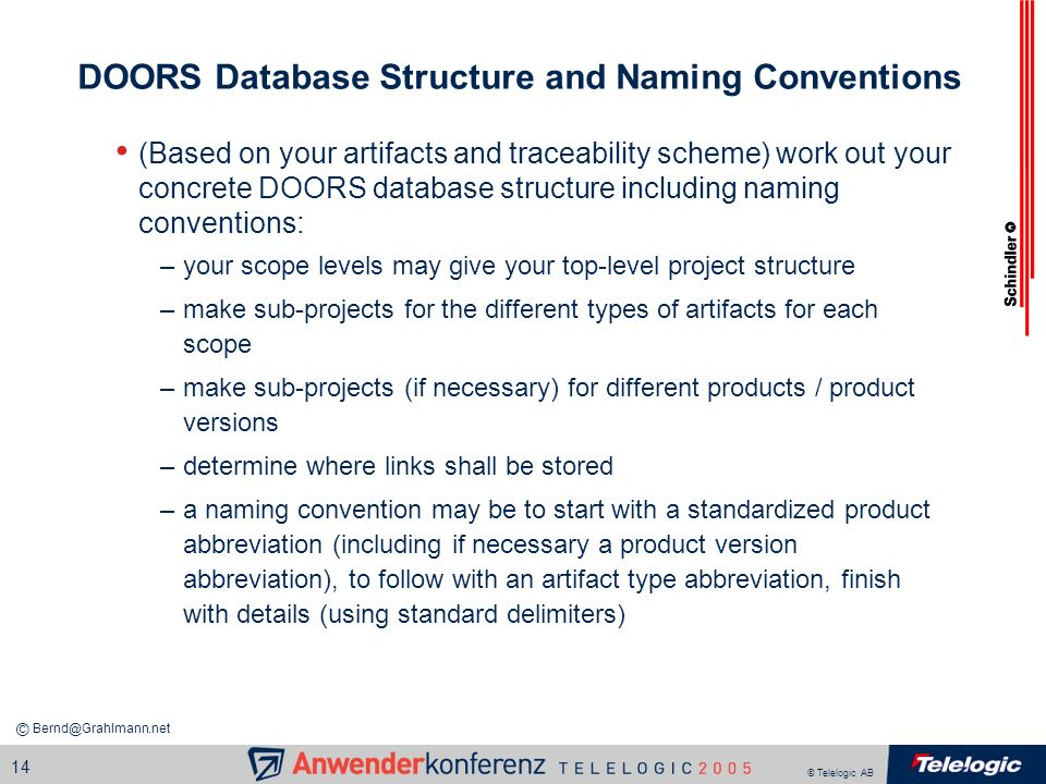 DOORS Database Structure and Naming Conventions